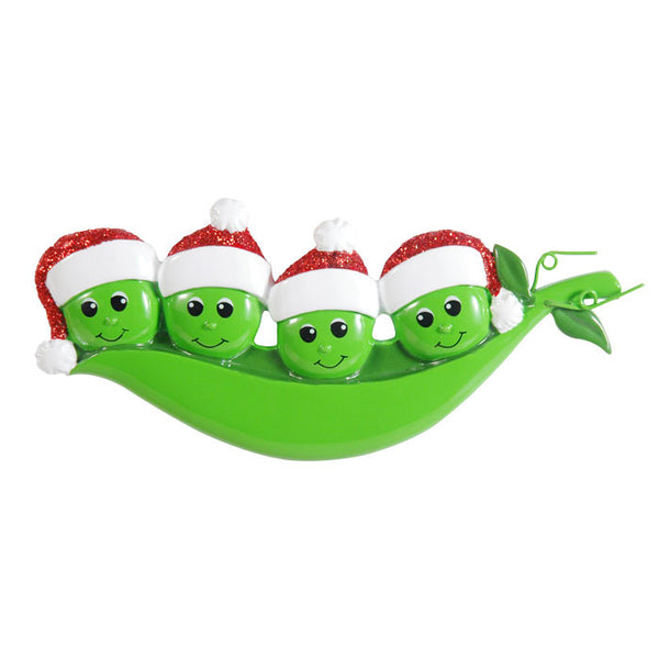 OR1432-4 - New Peapod Family Of 4 Personalized Christmas Ornament