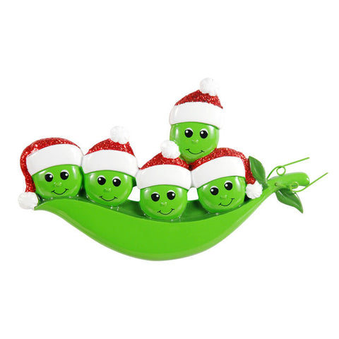OR1432-5 - New Peapod Family Of 5 Personalized Christmas Ornament