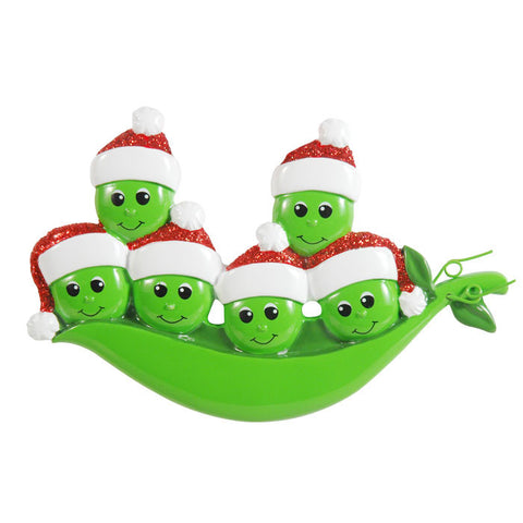 OR1432-6 - New Peapod Family Of 6 Personalized Christmas Ornament