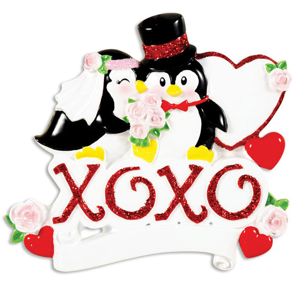 OR1441 - XOXO Wedding Couple Personalized Christmas Ornament