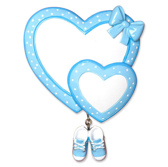 OR1443-B - Baby Heart/Booties (Blue) Personalized Christmas Ornament