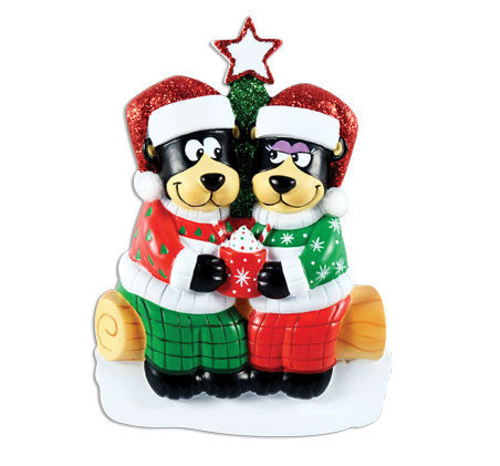 OR1445-2 - Black Bear Family w/ Hot Chocolate Couple Personalized Christmas Ornament