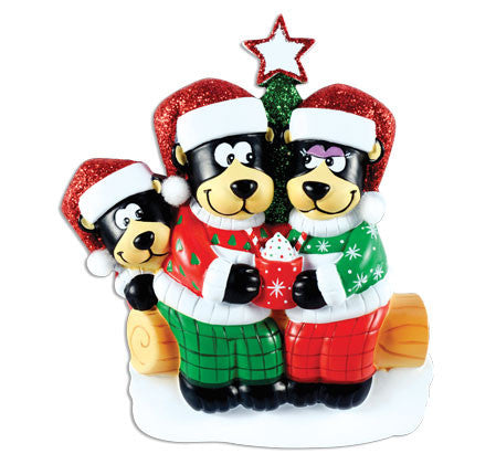 OR1445-3 - Black Bear Family w/ Hot Chocolate Family of 3 Personalized Christmas Ornament