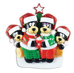 OR1445-4 - Black Bear Family w/ Hot Chocolate Family of 4 Personalized Christmas Ornament