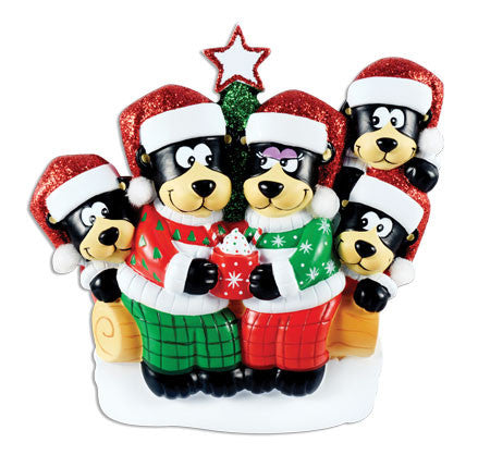 OR1445-5 - Black Bear Family w/ Hot Chocolate Family of 5 Personalized Christmas Ornament