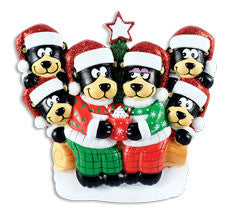 OR1445-6 - Black Bear Family w/ Hot Chocolate Family of 6 Personalized Christmas Ornament