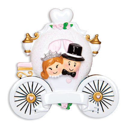 OR1449 - Wedding Couple In Carriage Personalized Christmas Ornament