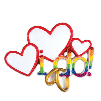 OR1454 - I Do! Rainbow Colors Personalized Christmas Ornament