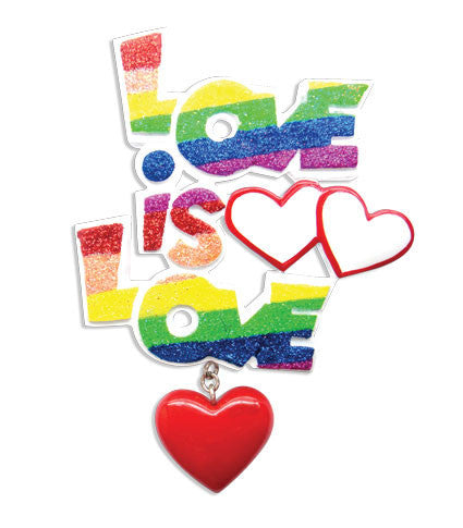 "OR1455 - Gay Pride ""Love Is Love"" Personalized Christmas Ornament"