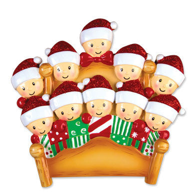 OR1469-10 - Bed Family of 10 Personalized Christmas Ornament