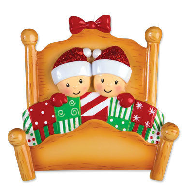 OR1469-2 - Bed Family Couple Personalized Christmas Ornament
