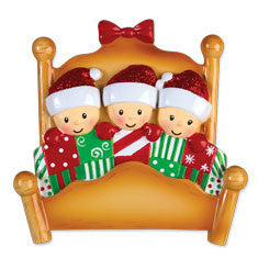 OR1469-3 - Bed Family of 3 Personalized Christmas Ornament