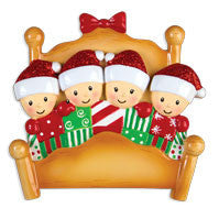 OR1469-4 - Bed Family of 4 Personalized Christmas Ornament