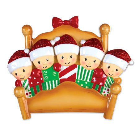 OR1469-5 - Bed Family of 5 Personalized Christmas Ornament