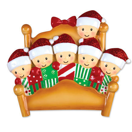 OR1469-6 - Bed Family of 6 Personalized Christmas Ornament