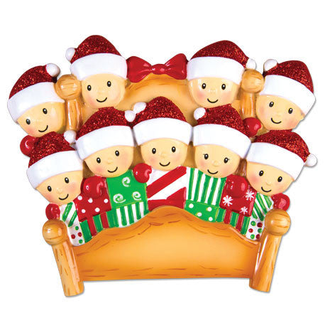 OR1469-9 - Bed Family of 9 Personalized Christmas Ornament