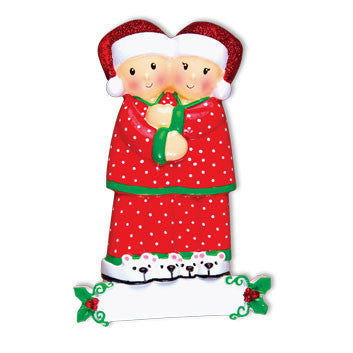 OR1470-2 - Pajama Family Couple Personalized Christmas Ornament