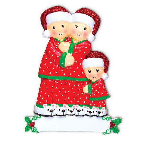 OR1470-3 - Pajama Family of 3 Personalized Christmas Ornament