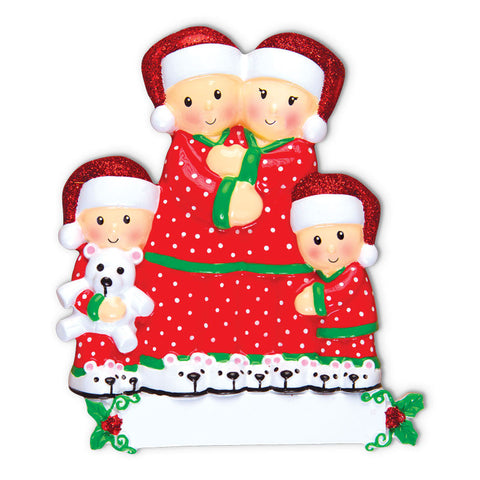 OR1470-4 - Pajama Family of 4 Personalized Christmas Ornament