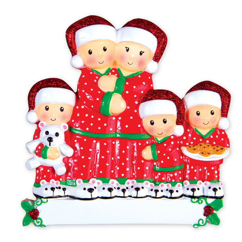 OR1470-5 - Pajama Family of 5 Personalized Christmas Ornament