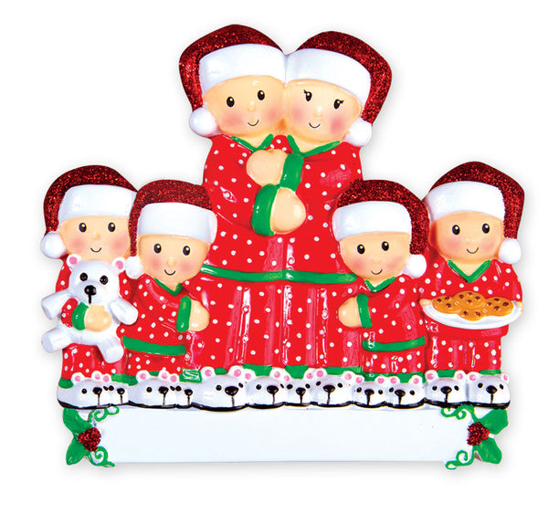 OR1470-6 - Pajama Family of 6 Personalized Christmas Ornament