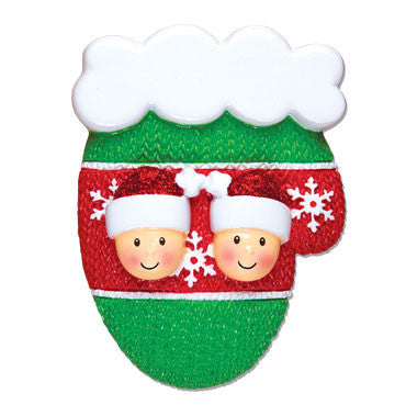 OR1471-2 - Mitten Family w/Faces Couple Personalized Christmas Ornament