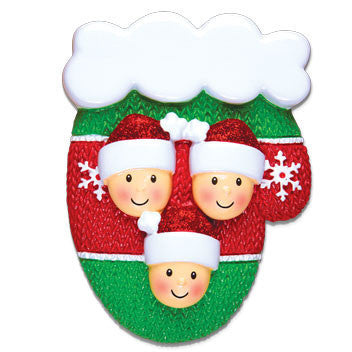 OR1471-3 - Mitten w/Faces Family of 3 Personalized Christmas Ornament