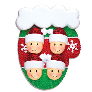 OR1471-4 - Mitten w/Faces Family of 4 Personalized Christmas Ornament
