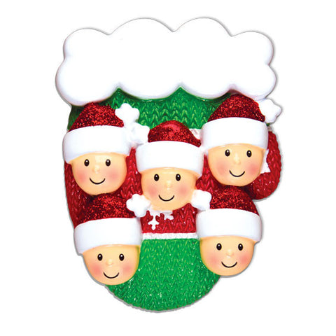 OR1471-5 - Mitten w/Faces Family of 5 Personalized Christmas Ornament
