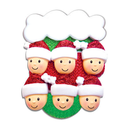 OR1471-6 - Mitten w/Faces Family of 6 Personalized Christmas Ornament