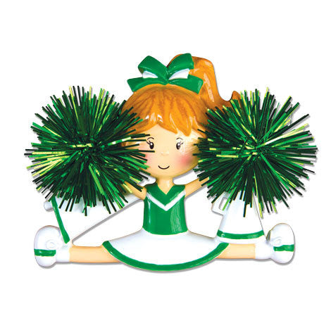 OR1488-G - Cheerleader(Green) Personalized Christmas Ornament