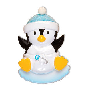 OR1493-B - Baby Penguin Boy Personalized Christmas Ornament