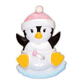 OR1493-P - Baby Penguin Girl Personalized Christmas Ornament