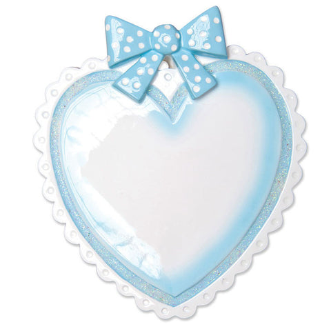 OR1495-B - Lt. Blue Baby Heart Personalized Christmas Ornament