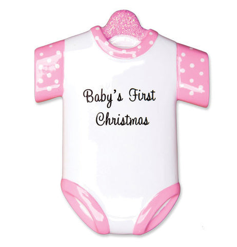 OR1496-P - New Girl Onesie Personalized Christmas Ornament