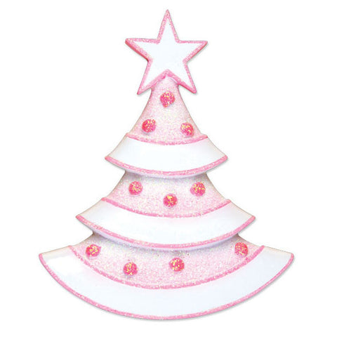 OR1497-P - New Pink Xmas Tree Personalized Christmas Ornament