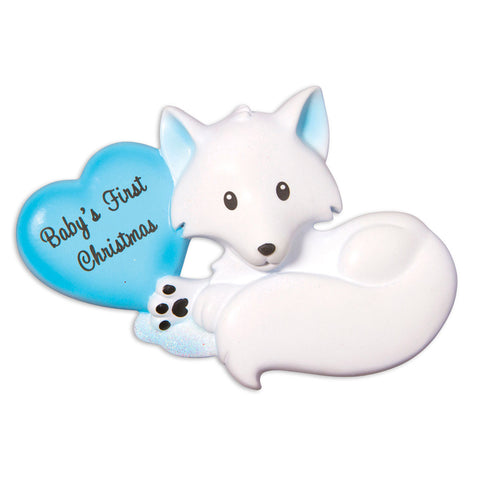 OR1501-B - Baby Fox (Light Blue) Christmas Ornament