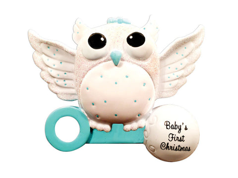 OR1502-B - Baby Owl (Boy) Christmas Ornament