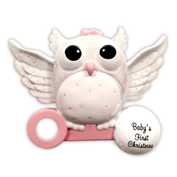 OR1502-P - Baby Owl (Girl) Christmas Ornament