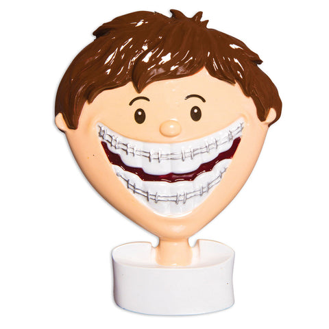 OR1503-B - Brace Face (Boy) Christmas Ornament