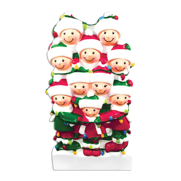 OR1521-10 - Tangled In Lights (family of 10) Christmas Ornament