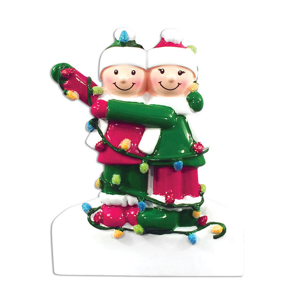 OR1521-2 - Tangled In Lights (family of 2) Christmas Ornament