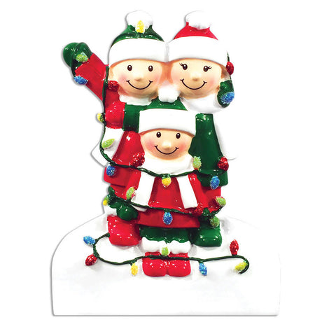 OR1521-3 - Tangled In Lights (family of 3) Christmas Ornament