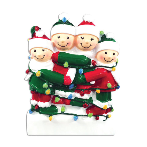 OR1521-4 - Tangled In Lights (family of 4) Christmas Ornament