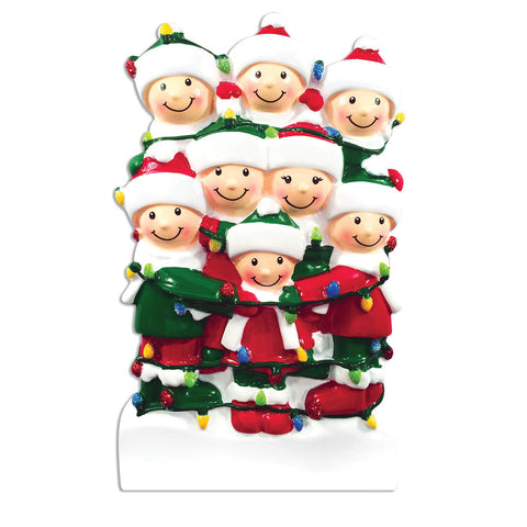 OR1521-8 - Tangled In Lights (family of 8) Christmas Ornament