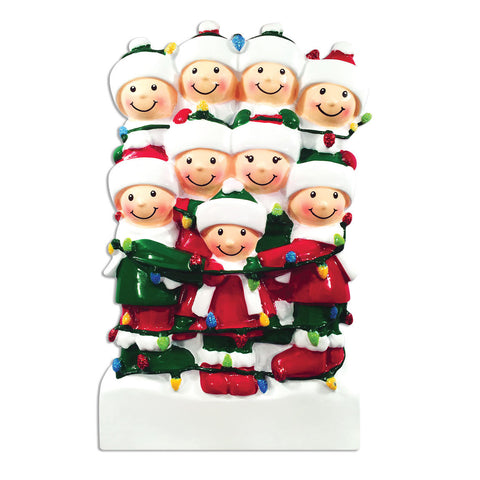 OR1521-9 - Tangled In Lights (family of 9) Christmas Ornament