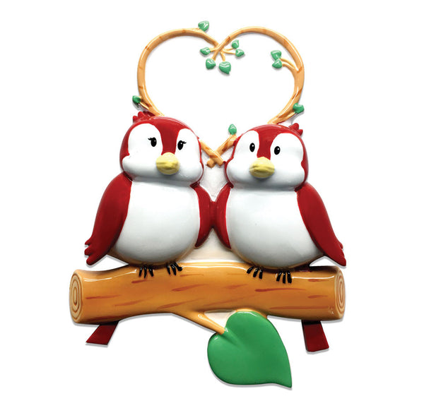 OR1522-2 - Birds On Branch (couple) Christmas Ornament