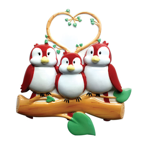 OR1522-3 - Birds On Branch (family of 3) Christmas Ornament