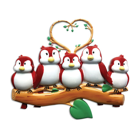 OR1522-5 - Birds On Branch (family of 5) Christmas Ornament