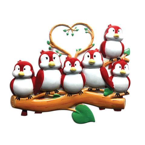OR1522-6 - Birds On Branch (family of 6) Christmas Ornament